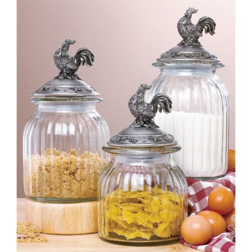 set 3 french country rooster clear glass canister set