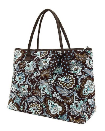 Belvah Quilted Floral Large Tote Bag (Brown/ Turquoise)
