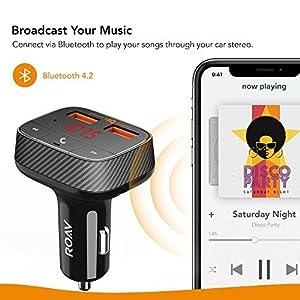 Roav Anker, SmartCharge F0 FM Transmitter/Bluetooth Receiver/Car Charger Bluetooth 4.2, 2 USB Ports, PowerIQ AUX Output (No Dedicated App) (Color: Black)