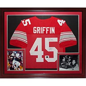 Archie Griffin Autographed Ohio State Buckeyes (Scarlet #45) Deluxe Framed Jersey w ...