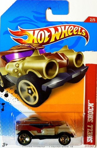 2012 Hot Wheels Thrill Racers - Prehistoric #2/5 Brown & Gold SHELL SHOCK Collectible 1:64 Scale Car 217/247 - 1