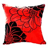 """16"""" x 16"""" Decorative Throw Pillow Case Cushion Cover Square Home Sofa Bed (Red)"""