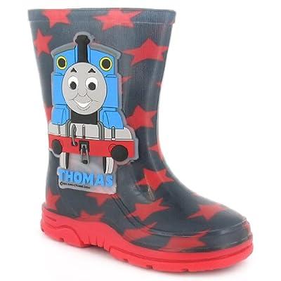 Boys/Childrens Black Thomas The Tank Engine Wellington Rain Boots - Black/Red - UK 4-10