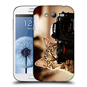 Snoogg Cat And Camera Designer Protective Back Case Cover For SAMSUNG GALAXY GRAND DUOS I9082