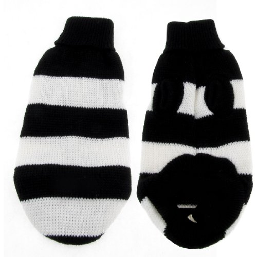 Warm Turtleneck Striped Knitted Chihuaha Dog Sweater Clothes White Black Xs