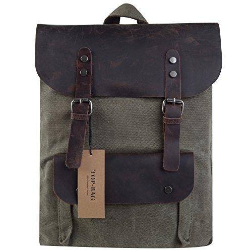 TOP-BAG®Women Vintage Canvas Leather Shoulder Bag Backpack Weekender Bag Rucksack Satchel, MC2166 (armygreen)