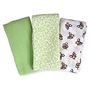 Summer Infant Muslin SwaddleMe Blanket 3-Pack, Go Bananas