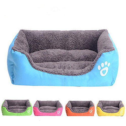 Washable Cozy Pet Cat Dog Soft Fleece Warm Bed Puppy House Nest with Plush Mat Pad, 5 Colors (small, Blue)