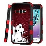 Galaxy J1 (2016) Case, CASECREATOR[TM] For Samsung Galaxy J1 (2016)/J120A/Galaxy Express 3/Galaxy Amp 2 (AT&T, Cricket)~NATURAL TUFF Hybrid Rubber Hard Case Red Black-Red Football
