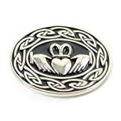Scott's Highland Mens Metal Belt Buckle - Oval Claddagh & Celtic Knots