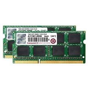 【クリックで詳細表示】Transcend JetRam ノートPC用増設メモリ PC3-10600(DDR3-1333) 16GB KIT(8GB x 2) 永久保証 JM1333KSH-16GK