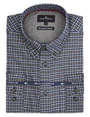 Blue Harbour Brushed Pure Cotton Marl Grid Checked Shirt