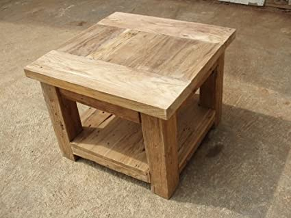 Stylish reclaimed teak wooden coffee table / end table with shelf