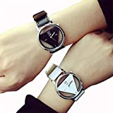 Meily おしゃれなトライアングル盤 腕時計  ペアウォッチセット カップル腕時計 男女兼用 プレゼントとしても