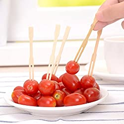 LussoLiv 100pcs Bamboo Fruit Vegetable Food Forks BBQ Buffet Wedding Party Stick