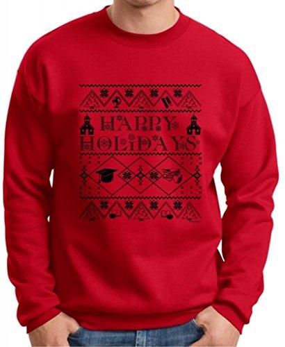 Ugly Christmas Sweater For Teachers Premium Crewneck Sweatshirt Medium Deep Red