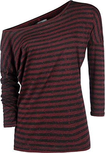 R.E.D. by EMP Stripes Burnout Ladies Tee Manica lunga donna bordeaux XXL