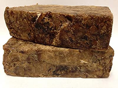 True Raw African Black Soap, Imported from Ghana Africa (2-8 ounce bars) 100% Pure African Black Soap