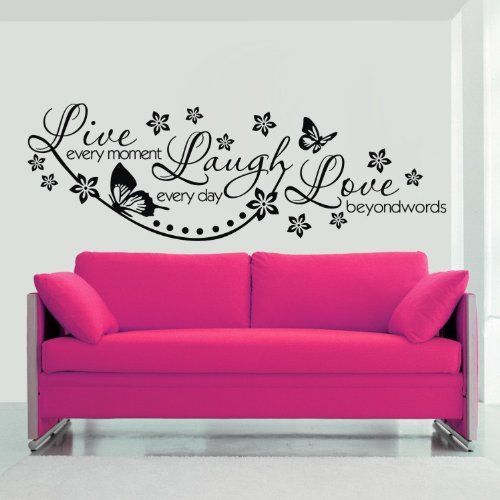 """Colorfulhall Large Size 23.6"""" X 38.2"""" Black Wall Sticker Decor Decal Flower Butterfly Diy Removable Art Sitting Living Room Bedroom Decoration front-540783"""