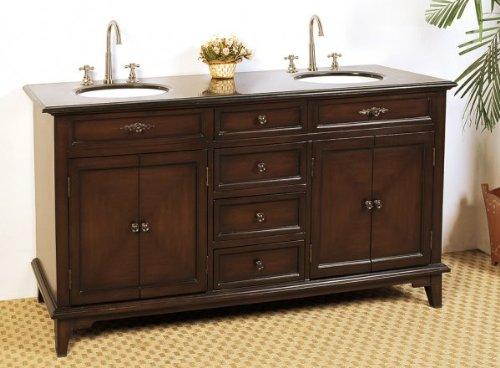Reviews 68 5 Double Sink Bathroom Vanity Chestnut 35 H X 68 5 W X 21 5 D Bedding Bath