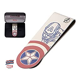 Men\'s Stainless Steel Captain America Laser Etched Color Money Clip With Jewelry Box