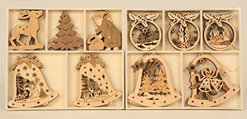 15 teiliges Set Holz Anhänger