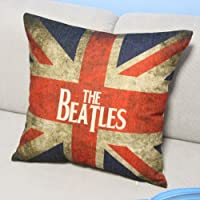 Union Jack the Beatles Style Square Throw Pillow Case Decor Cushion Covers Square 18*18 Inch Beige Cotton Blend Linen by Ningtao Cushion Cover Factory