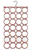 HOKIPO Single Piece 28 Rings Folding Rope Hanger for Scarf, Belts, Shawls, Ties and More (Random Color)