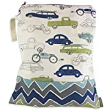 Logan + Lenora Classic Wet Bag - Medium Cloth Diaper Wet Bag - Beach, Pool, Gym Bag for Swimsuits or Wet Clothes - Made in USA -Waterproof (ZOOM Cars)