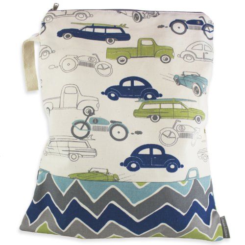 Logan + Lenora Waterproof Wet Bag 'ZOOM' Cars Medium