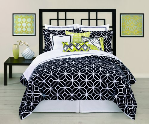 Trina Turk 2-Piece Trellis Comforter Set, Twin, Black/White front-866875