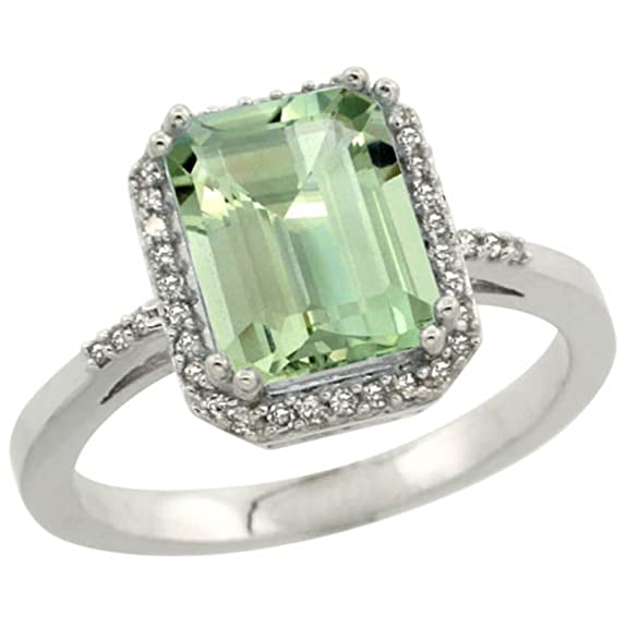 Revoni Sterling Silver Green Amethyst & Diamond Ring, Emerald Shaped (9x7 mm)