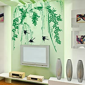 YYone Weeping Willow and Swallows Removable Wall decor Decals Sticker by YYone