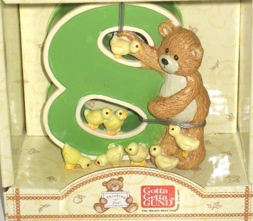 Gund Number 8 Teddy Bear and Baby Ducks Figurine