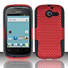 TRENDE - Huawei Ascend Y H866 / M866 / H866C Case Hybrid Design Red Mesh on Black Silicone Rubberized Cover + TRENDE Gift Box