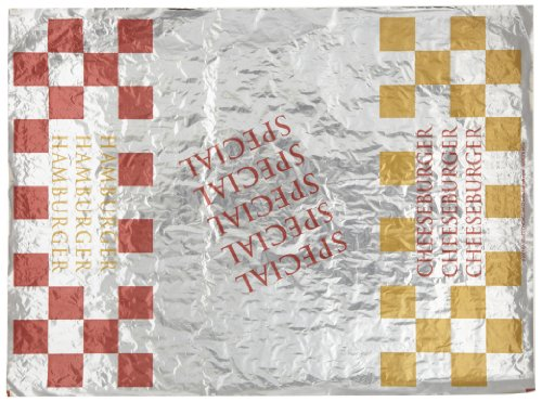 "Packaging Dynamics 300854 Hamburger/Cheeseburger/Special Printed Honeycomb Insulated Wrap Foil Paper, 14"" Length x 10-1/2"" Height, Box of 500 (Pack of 4)"
