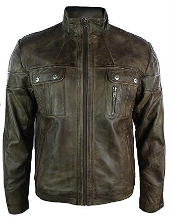 Hommes rétro veste en cuir de vraie smart casual col haut millésime Brun coup d'oeilollar Brown Vintage Look