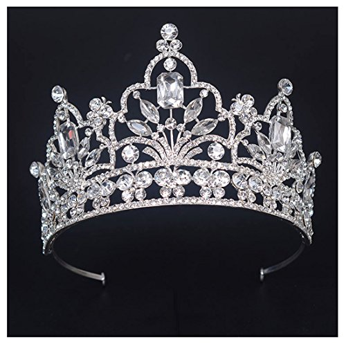 FF Pageant Crown Tiara for Women 4 Inches Tall Tiaras Wedding Hair Accessories