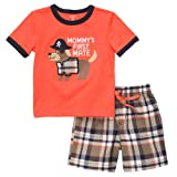 Carters Mommys First Mate Pirate Puppy Short Set ORANGE 18 Mo