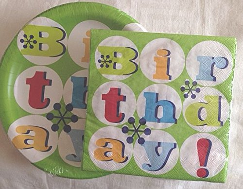 Happy Birthday Paper Party Pack Plates and Napkins - 1