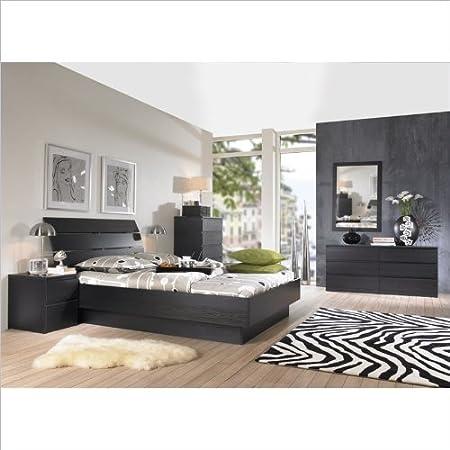Tvilum Scottsdale Platform 4 Piece Bedroom Set in Black Woodgrain