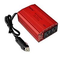 BESTEK Dual 110V AC outlets and Dual USB 3.1A 300w power inverter car dc 12v to 110v ac inverter dc adapter laptop charger notebook adapter dc charger ac adapter usb charger MRI3011BU by BESTEK GROUP LTD