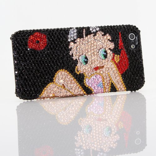 Special Sale iphone 5 5S Luxury Swarovski Crystal Diamond Betty Boop Design Bling Case Cover (100% Handcrafted by BlingAngels)