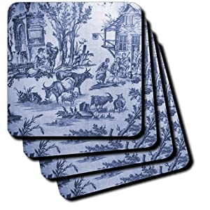 3dRose cst_34729_3 French Blue Farm Toile Ceramic Tile Coasters, Set of 4