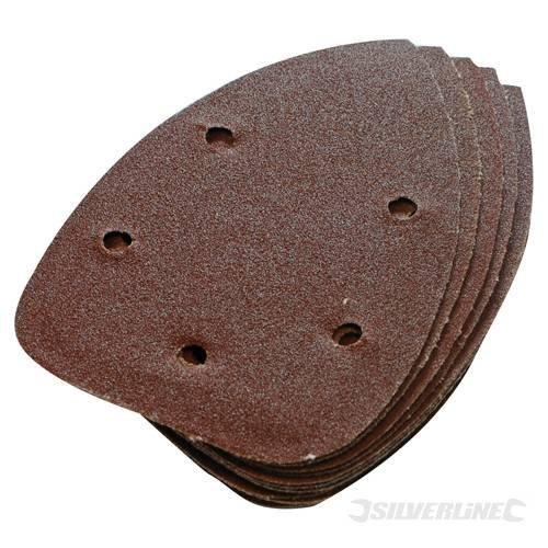 Power-Tool-Accessories-Hook-Loop-Triangles-Hook-Loop-Detail-Sander-Sheets-140mm-10pk-240-Grit-Aluminium-oxide-Suitable-for-all-140mm-detail-sanders-by-SILVERL