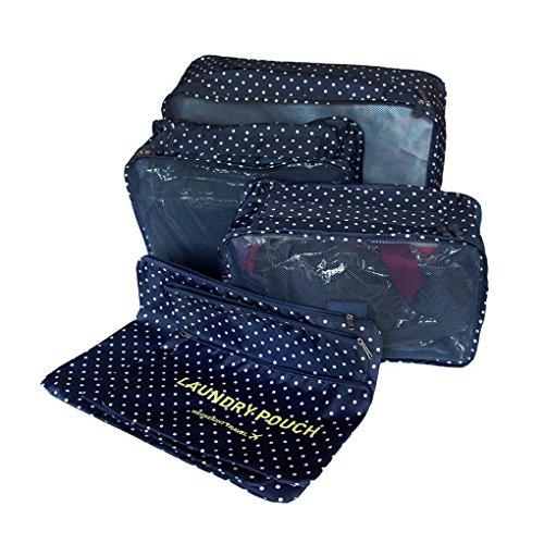 FakeFace Packing Bags, Organizer per valigie , Dark Blue Dot (Blu) - Travel packing cubes-3