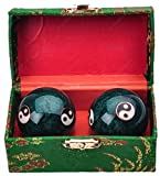 Traditional Chinese Health Exercise Stress Message Balls with Chime, Green Yin Yang, 1.5 Inches