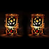 EarthenMetal Handcrafted Modern Contemporary Design Decorated Tealight Holder (Candle Light Holder) - Set Of 2