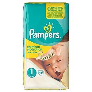 Pampers New Baby Nouveau-Né ( 2-5 kg / 4-11 Lbs) , 45 Couches Taille 1 Géant - Lot de 3 (135 couches)