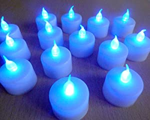 Leder® Set Of 12 Led Battery Tea Candle Lights With Blue Flame & White Base ** Ideal For Weddings, Homes, Christmas, Etc ** by LEDER